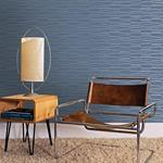 Luminescence Blue Abstract Stripe by Brewster Wallpaper
