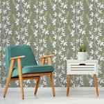NUS3548 Taupe & Lime Fairfield Flowers Peel and Stick Wallpaper2