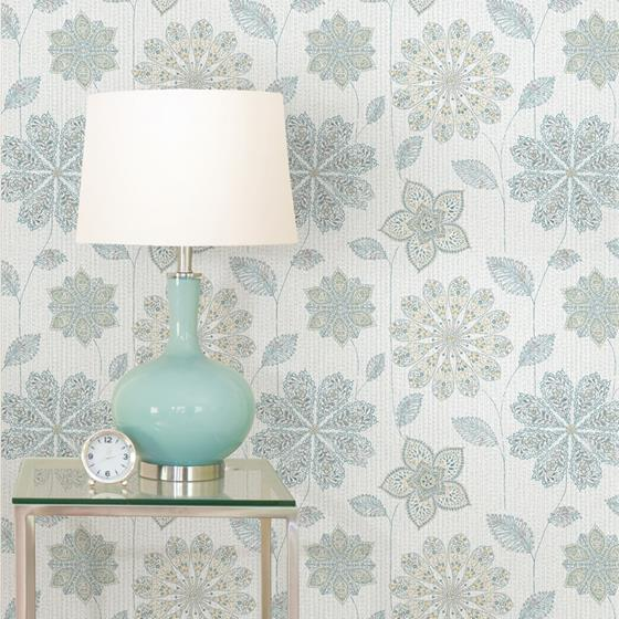 Nu1697 Gypsy Floral Blue Green Nature Peel And Stick Wallpaper