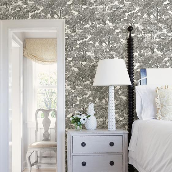 Spinney Black Toile by Chesapeake Wallpaper