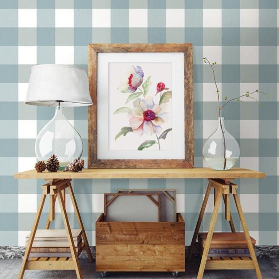 Amos Teal Gingham by Chesapeake Wallpaper