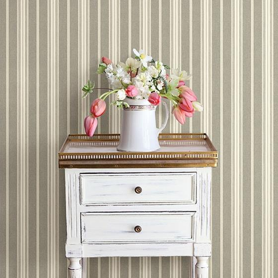 Cooper Taupe Stripe by Chesapeake Wallpaper
