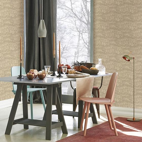 Hydra Taupe Geometric by Brewster Wallpaper