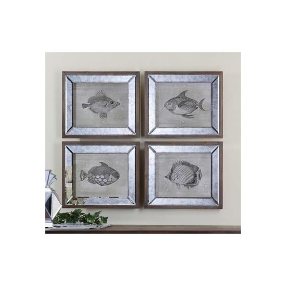 41700 Mirrored Fish S/4 by Uttermost-2