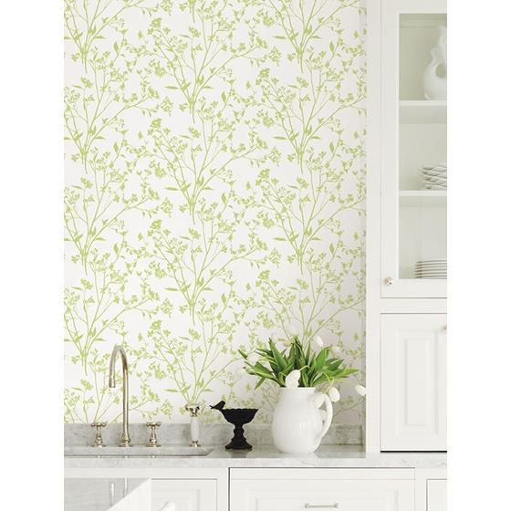 2927-80704 Newport Southport Chartreuse Delicate Branches by A-Street Prints Wallpaper2