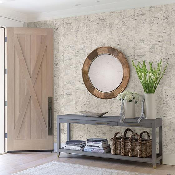3118-12641 Birch and Sparrow Champlain Grid Wood by Chesapeake Wallpaper2