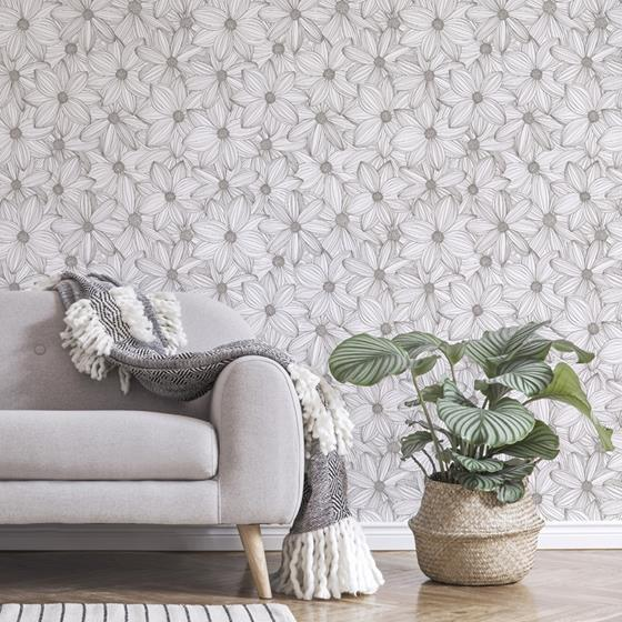 SLS3526 Taupe Cascade Self Adhesive Flowers Peel and Stick Wallpaper2