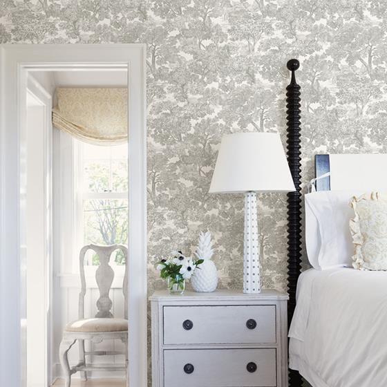 Spinney Grey Toile by Chesapeake Wallpaper