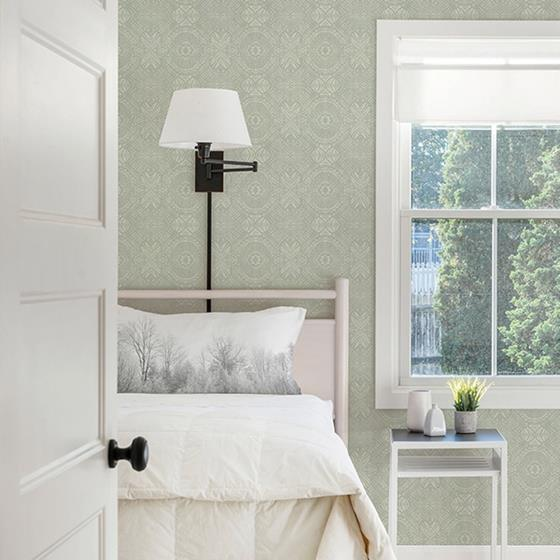 3118-12662 Birch and Sparrow Java Medallion by Chesapeake Wallpaper2