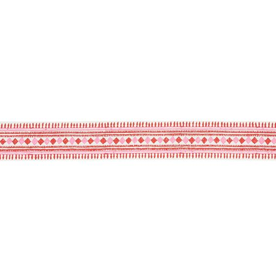 77331 Toula Hand Blocked Linen Tape Red and Pink by Schumacher Fabric2