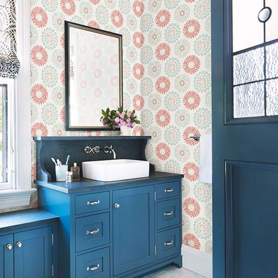 Sunkissed Coral Floral by Chesapeake Wallpaper