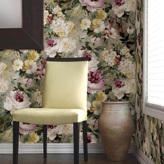 2835-SY5111P Deluxe Macau Magenta Painterly Floral by Advantage Wallpaper2