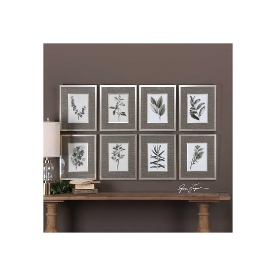 33658 Sepia Gray Leaves S/8 by Uttermost-2