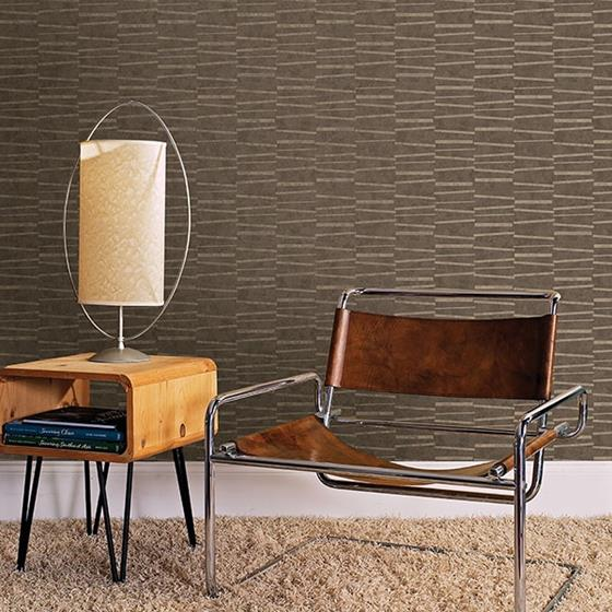 Luminescence Brown Abstract Stripe by Brewster Wallpaper