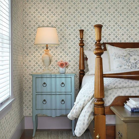 Mcentire Teal Geometric Quilt by Chesapeake Wallpaper