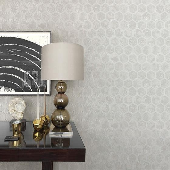 Starling Silver Honeycomb by Brewster Wallpaper