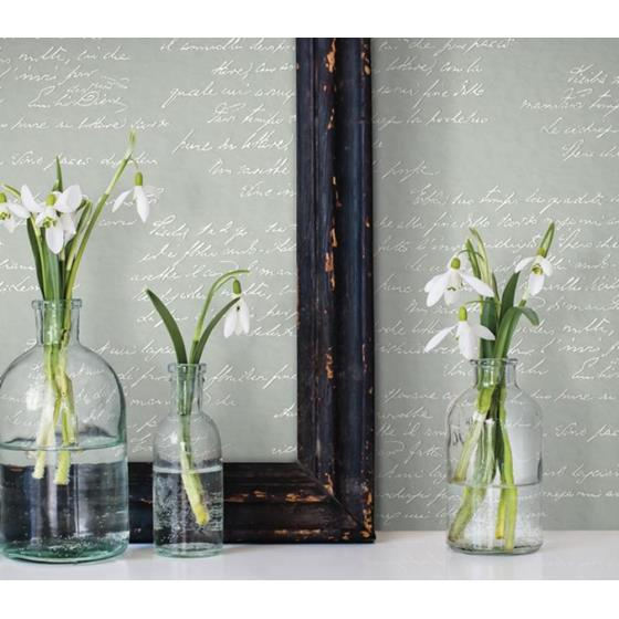 Magnolia Home I, Noteworthy color Green Calligraphy - Wallpaper