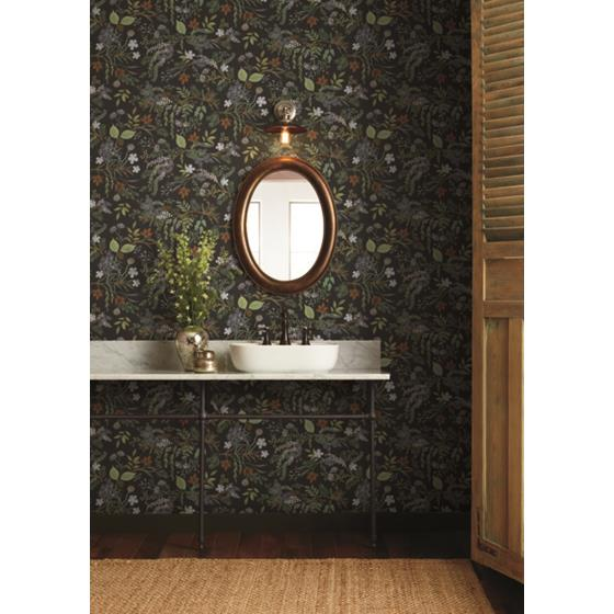 RI5166 Rifle Paper Co. Juniper Forest Black York Wallpaper2
