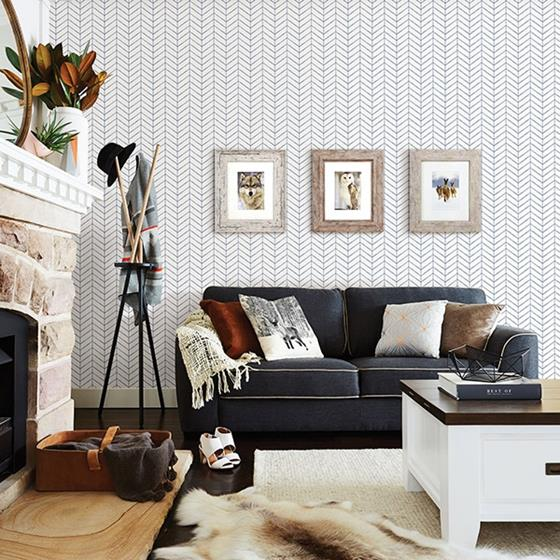 3118-25096 Birch and Sparrow Bison Herringbone by Chesapeake Wallpaper2