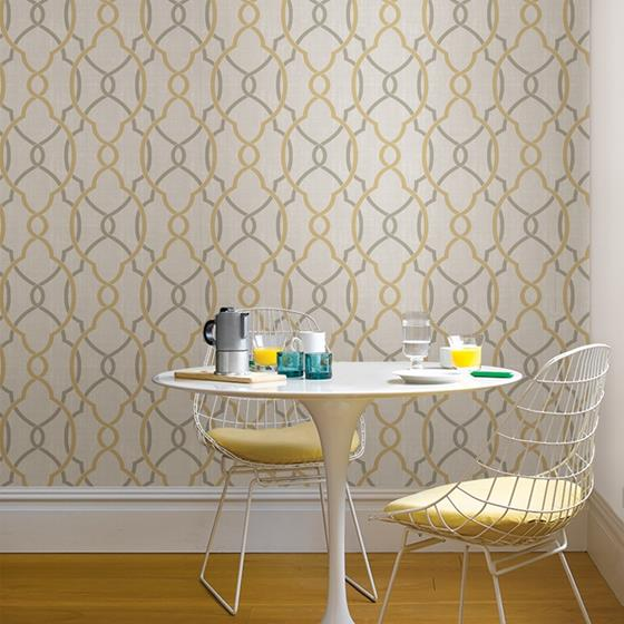 NU1695 Sausalito Taupe/Yellow Graphics Peel and Stick Wallpaper2