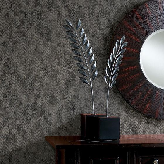 Luna Charcoal Distressed Chevron by Brewster Wallpaper
