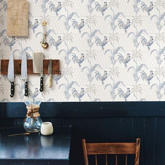 Hank Blue Rooster by Chesapeake Wallpaper