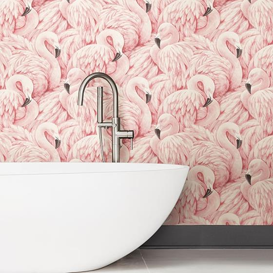 2814-803204 Bath Horace Light Pink Flamingos by Advantage Wallpaper2