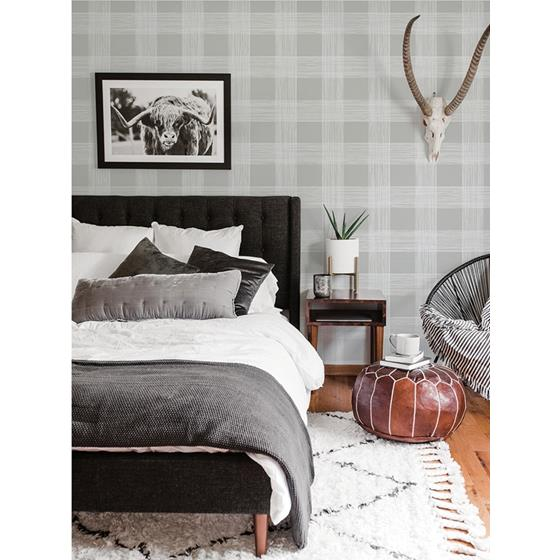 2927-80908 Newport Scarborough Grey Striated Plaid by A-Street Prints Wallpaper2