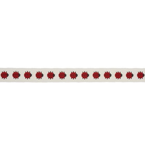 77390 Ladybird Tape Red and Ivory by Schumacher Fabric2