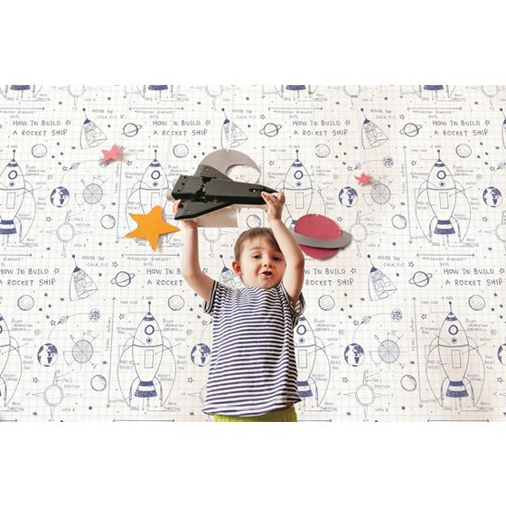 DA60702 Day Dreamers Rocket Ship White and Navy Seabrook Wallpaper2