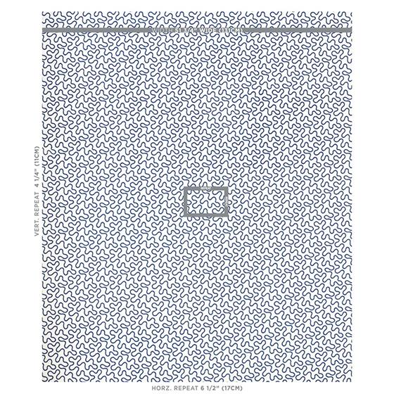 67603 Meander Embroidery Blue On Ivory By Schumacher Fabric 2