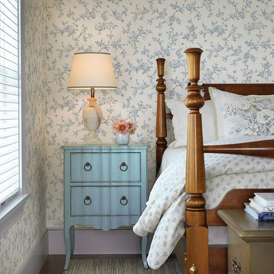 French Nightingale Blue Floral Scroll by Chesapeake Wallpaper
