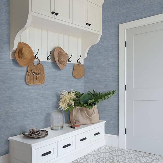 Waverly Blue Faux Grasscloth by Chesapeake Wallpaper