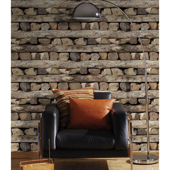 2774-931808 Stones and Woods Bighorn Brown Logs by Advantage Wallpaper2