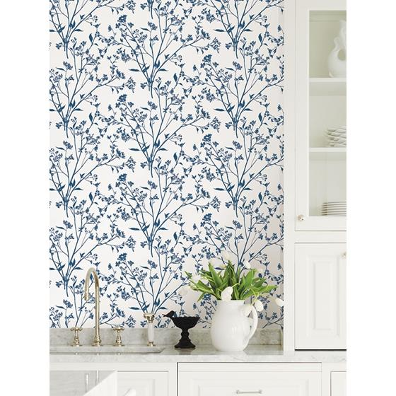 2927-80702 Newport Southport Indigo Delicate Branches by A-Street Prints Wallpaper2