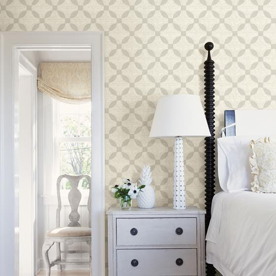 Justice Light Grey Quilt by Chesapeake Wallpaper