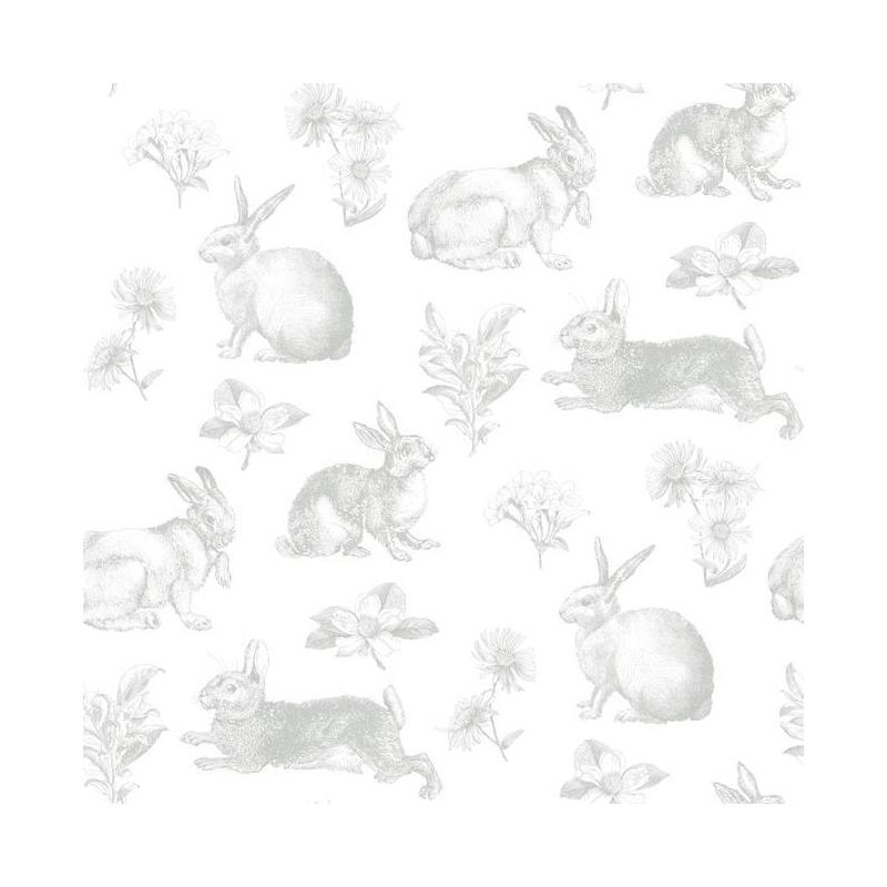 KI0580 A Perfect World, Bunny Toile, Grey Animals