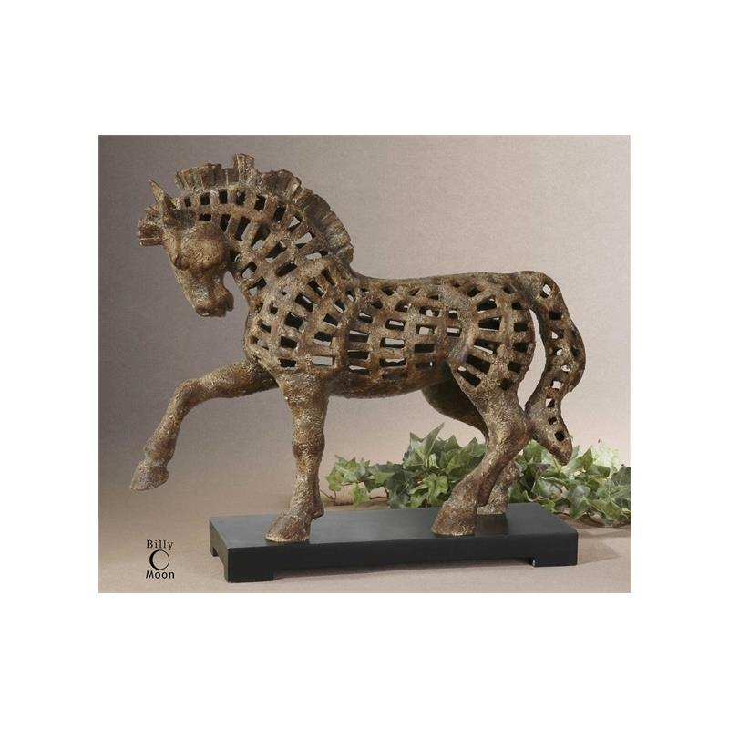 19217 Prancing Horse Sculpture by Uttermost