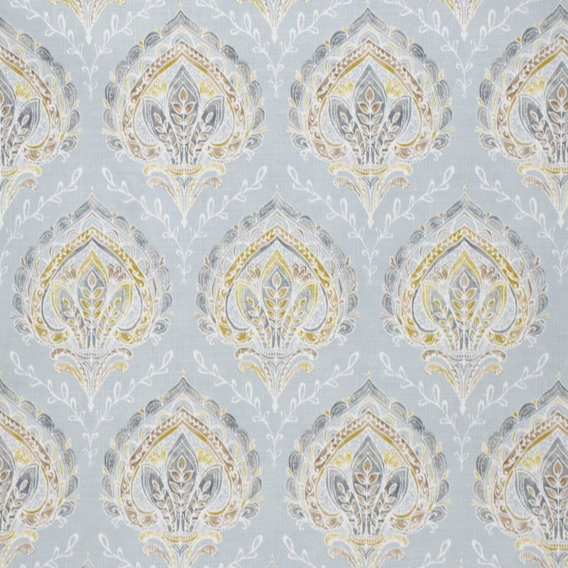 F1468 Pool, Blue Paisley Upholstery Fabric by Gree