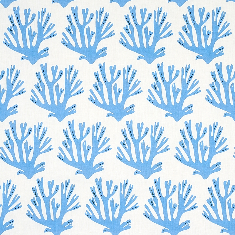 179100 Coral, Blue by Schumacher Fabric