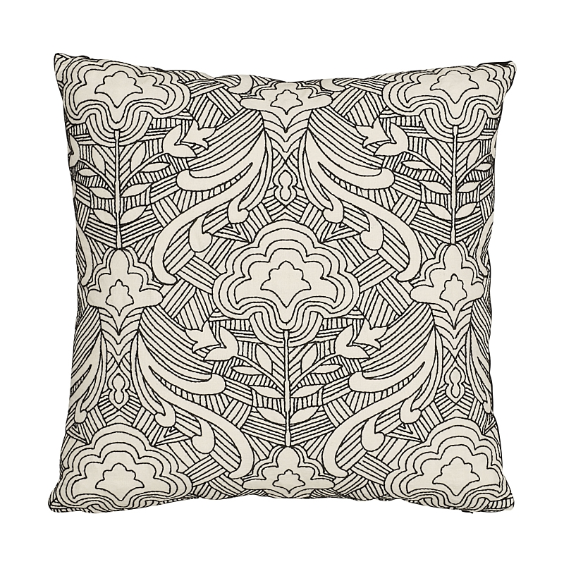 """So7616204 Hendrix Embroidery 18"""" Pillow, Blac"""