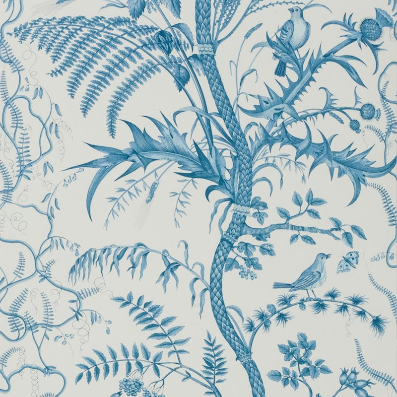 BR-69518.222 Bird And Thistle Blue Brunschwig and