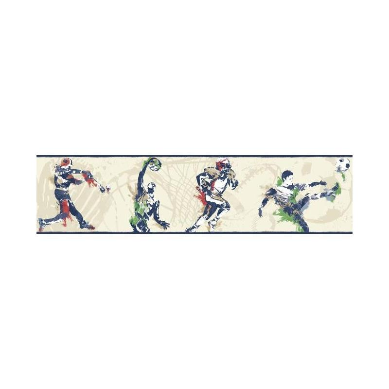 BS5306BD Sports Players Border by York Wallcoverin