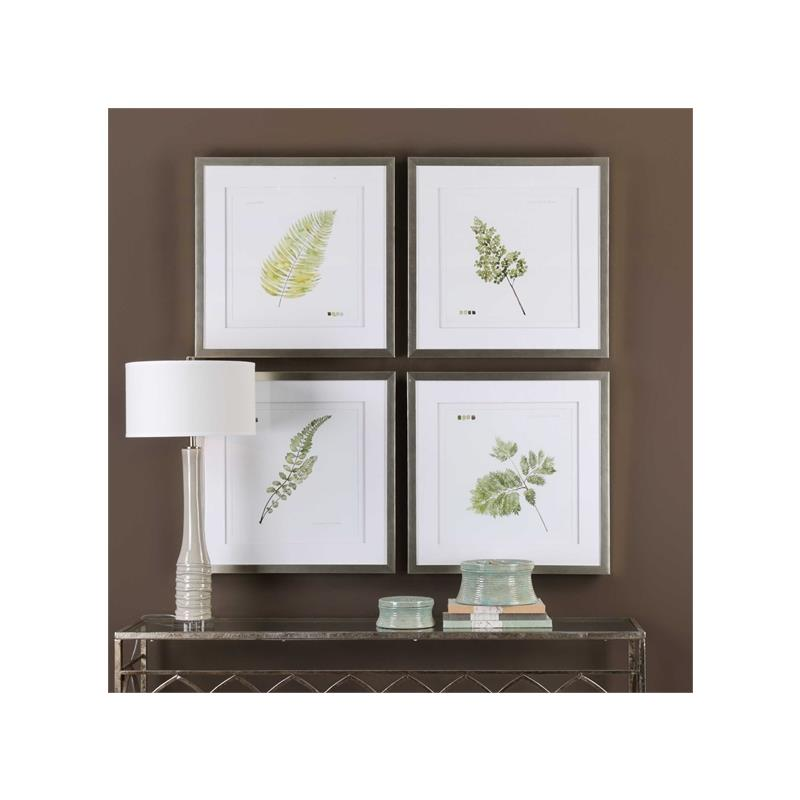 33666 Watercolor Leaf Study S/4 by Uttermost