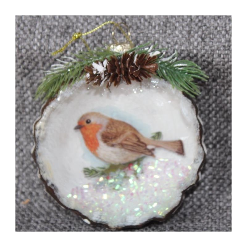 XM4440D Glass Robin Ornament