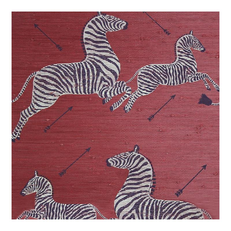 SC 0002G81388M Zebras - Grasscloth, Red by Scalama