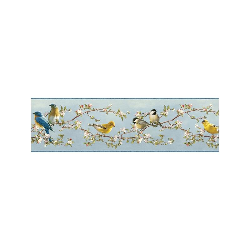 3118-48511B Birch and Sparrow, Songbird Floral Tra