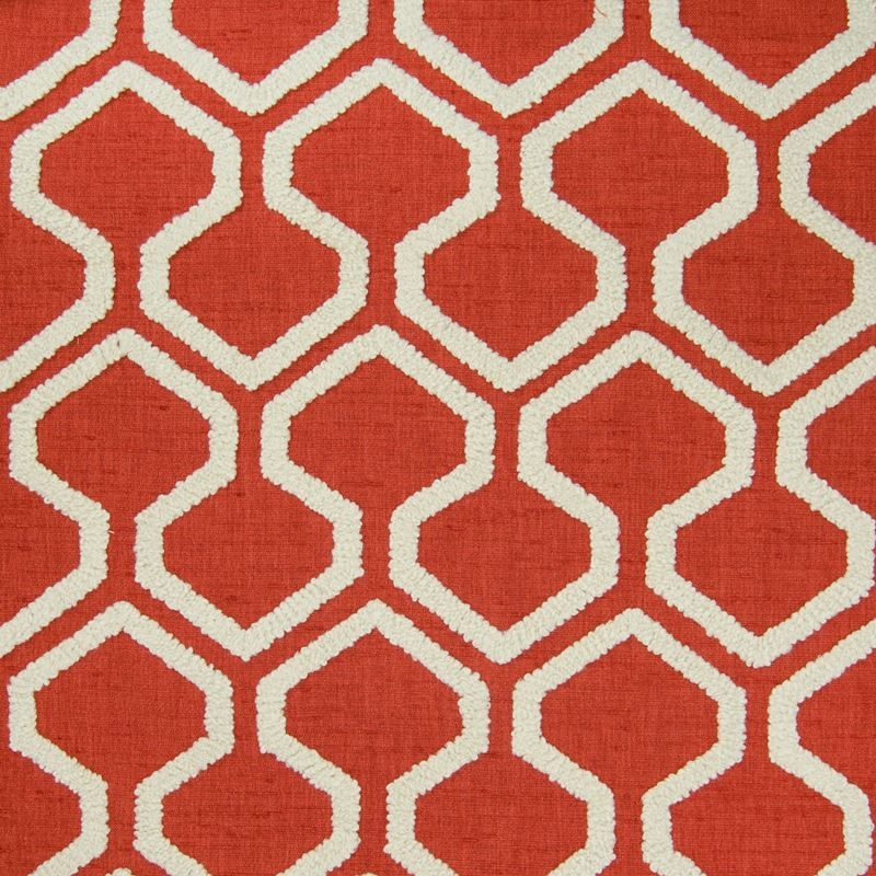 B5004 Paprika, Red Geometric Drapery by Greenhouse