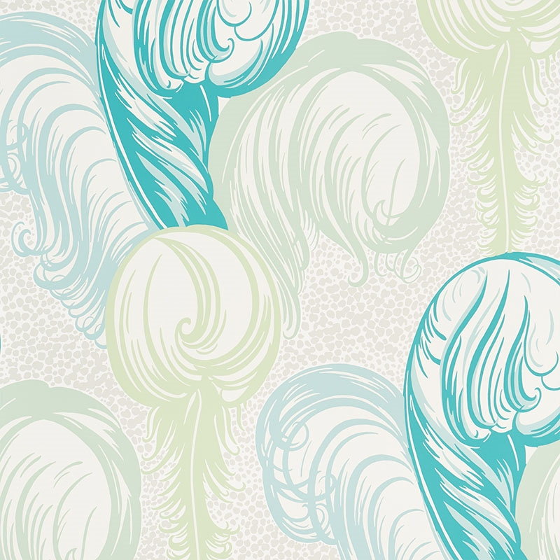 5009152 Plumes Peacock by Schumacher Wallpaper