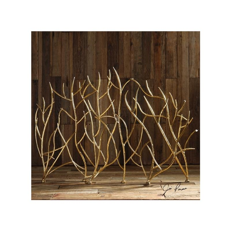 18796 Gold Branches Decorative Fireplace by Utterm